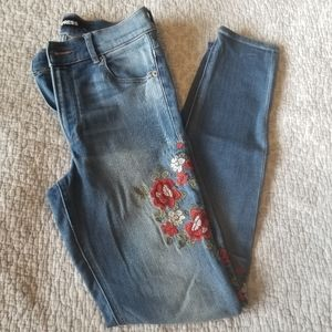 Express Women's Size 4R  Floral Embroidery Skinny Stretch Legging High Rise Jean
